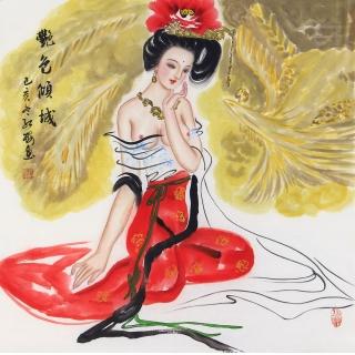 国画仕女图 陈红梅国画人物作品《艳色倾城》
