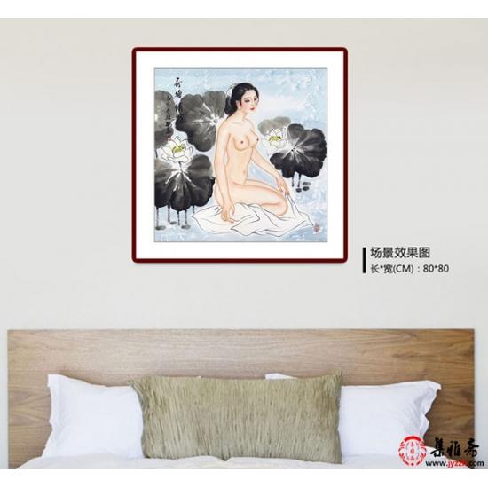 陈红梅四尺斗方人物画仕女图《荷塘倩影》