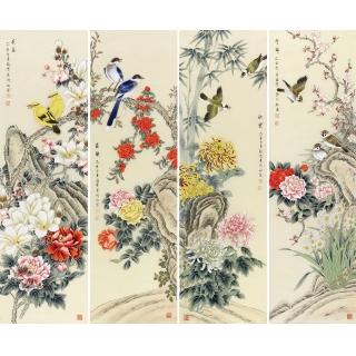 【已售】家居挂画 池福云工笔花鸟画四条屏《春夏秋冬》