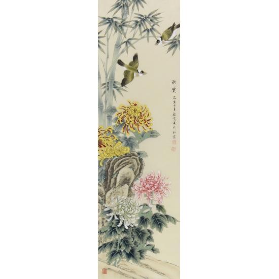 家居挂画 池福云工笔花鸟画四条屏《春夏秋冬》