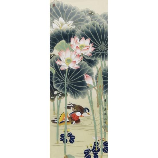 【已售】家居装饰画 池福云工笔花鸟画四条屏《春夏秋冬》
