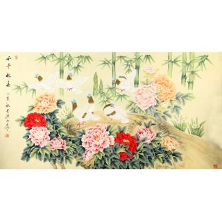 国家一级美术师张洪山六尺作品《和平新春》