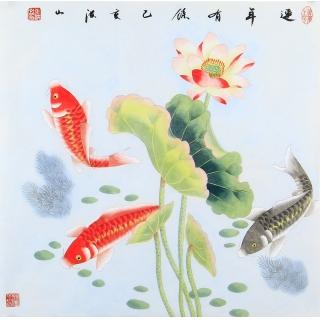 国家一级美术师张洪山斗方荷花鲤鱼图《连年有余》