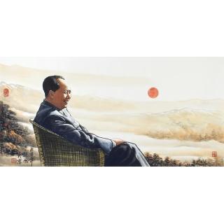 【已售】魏鸿四尺横幅人物画作品毛主席《江山如此多娇》肖像画