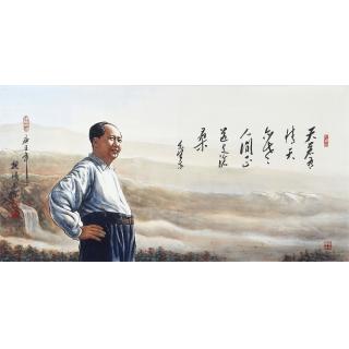 【已售】国画伟人像 魏鸿四尺横幅人物画毛主席《伟人肖像》