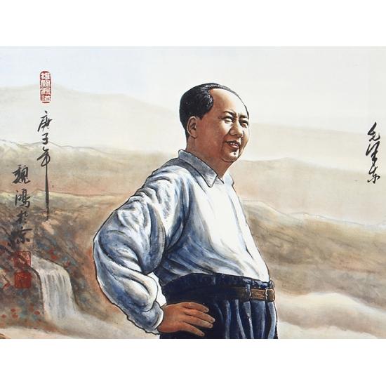 国画伟人像 魏鸿四尺横幅人物画毛主席《伟人肖像》