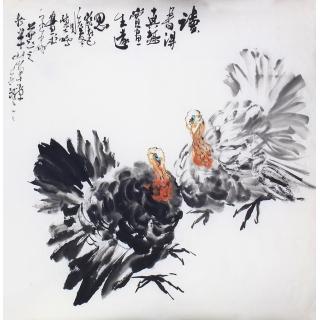 陈大鹏六尺斗方花鸟画作品《花鸟》
