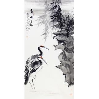 玄关装饰画 陈大鹏四尺竖幅花鸟画《新雨之秋》