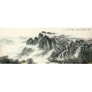 齐伟家八尺横幅写意山水画作品《青山积翠 碧水长流》