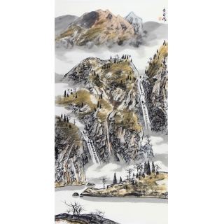 中美协会员王居龙四尺竖幅写意山水画《秋谷响泉》