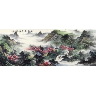 蒋大卫六尺横幅山水画《桃源春色》