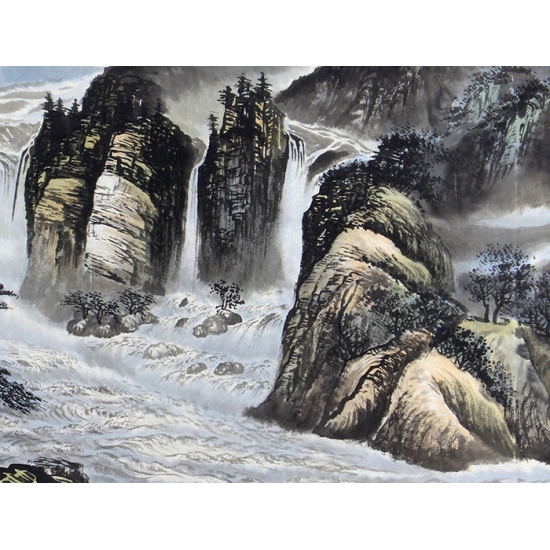 沙发背景墙挂画 刘京河四尺山水画作品《观瀑图》