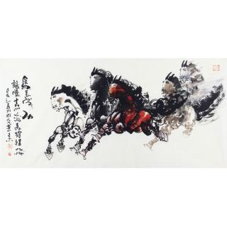 骏马图 王杰写意动物画作品《马到成功》