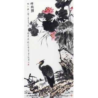 王占海四尺竖幅写意花鸟画作品《得鱼图》