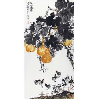 【已售】王占海新品写意花鸟画葫芦图《福禄吉祥》