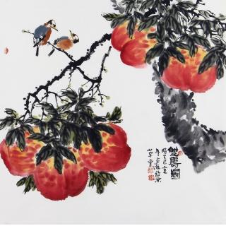 祝寿贺礼 王占海四尺斗方写意花鸟画《双寿图》