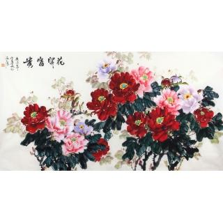 国画牡丹图 宣丽敏六尺横幅写意牡丹《花开富贵》