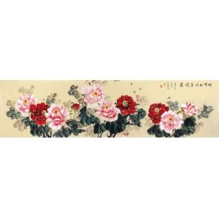 写意牡丹图 宣丽敏六尺横幅花鸟画《唯有牡丹真国色》