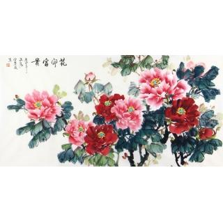 河南美协会员 宣丽敏四尺国画牡丹图《花开富贵》