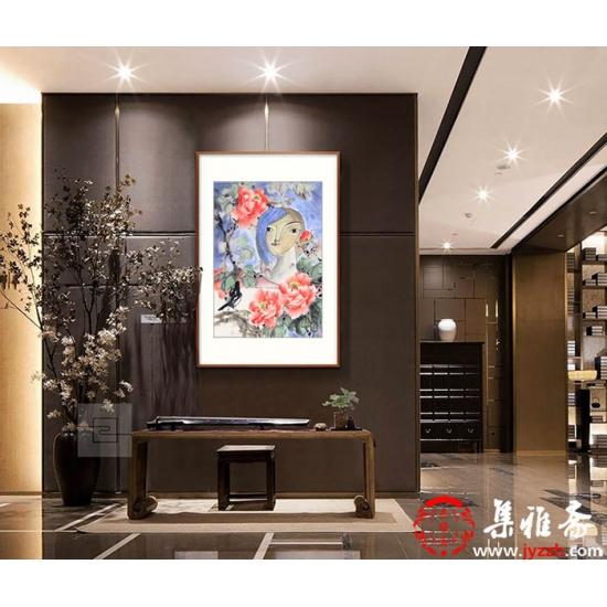 河南美协会员 宣丽敏小品创意国画《悦和》