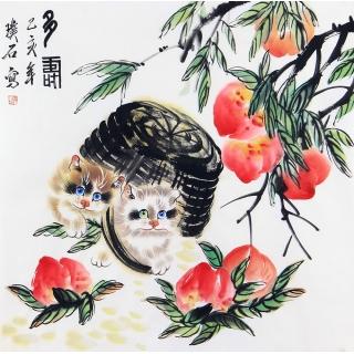 猫趣图 璞石斗方动物画猫《多寿》