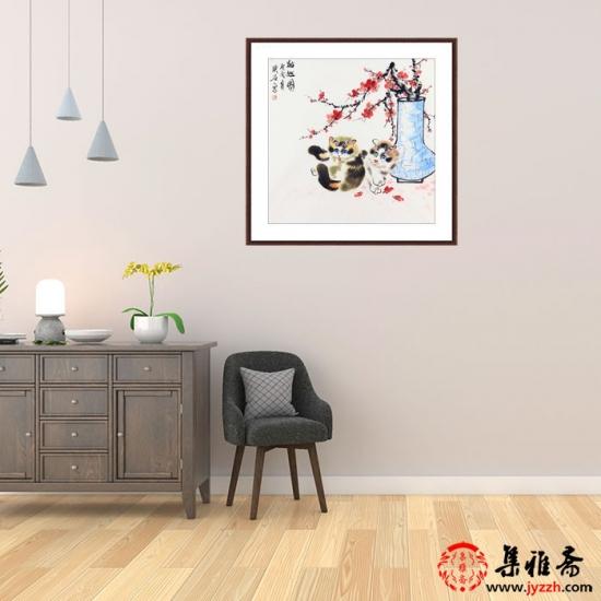 家居装饰画 璞石新品写意动物画《猫趣图》