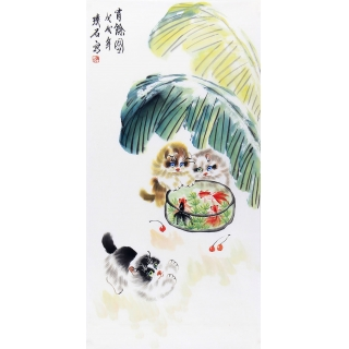 玄关/走廊装饰画 璞石新品写意动物画《猫趣图》