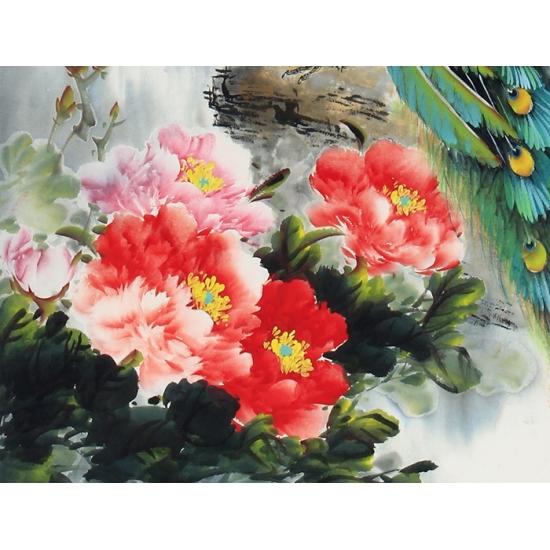 国画孔雀图 张琳老师四尺竖幅佳作《富贵呈祥》