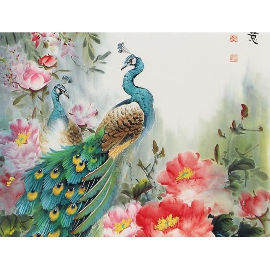 玄关/走廊装饰画 张琳写意花鸟画孔雀牡丹图《春风得意》