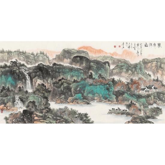 陈尝石四尺横幅山水画作品《岚翠满山》