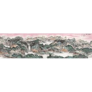陈尝石一丈二山水画作品《雨后清溪》