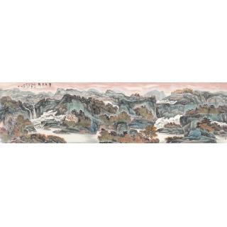 陈尝石八尺横幅山水画作品《紫气东来》