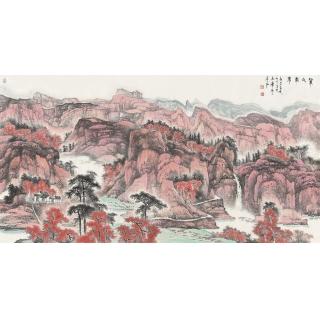 陈尝石六尺横幅山水画作品《紫气东来》
