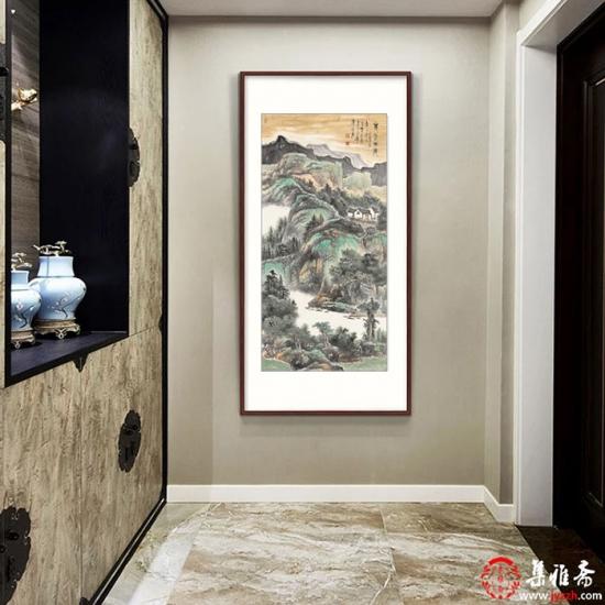 玄关/走廊装饰画 陈尝石山水画竖幅新品力作《青然雨后》