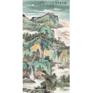 陈尝石国画新品四尺竖幅山水画《青山新雨后》