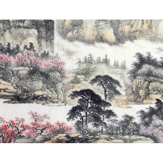 陈尝石国画新品四尺横幅山水画《春满林虑》