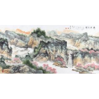 陈尝石四尺横幅山水画作品《泉流春韵》