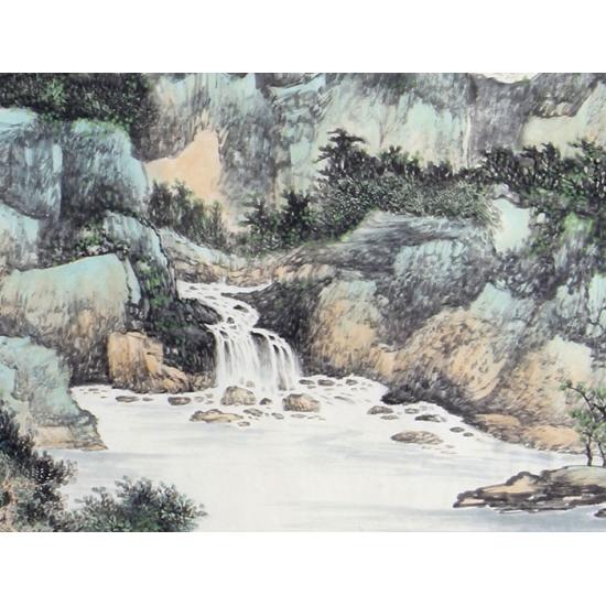 陈尝石国画佳作山水画《绿叶山庄》