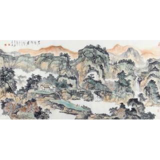 客厅山水画 陈尝石新品力作四尺横幅作品《石溪禅居》