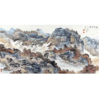 陈尝石四尺横幅写意山水画《渔村秋照》