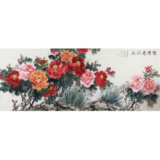 【已售】花开富贵 宣丽敏国画牡丹图新作《富贵春满园》