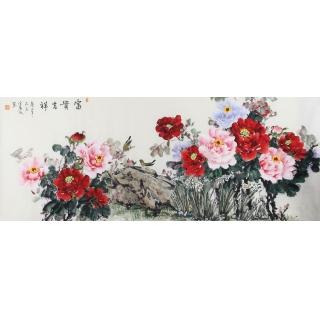 【已售】客厅装饰画 宣丽敏六尺精美牡丹图《富贵吉祥》