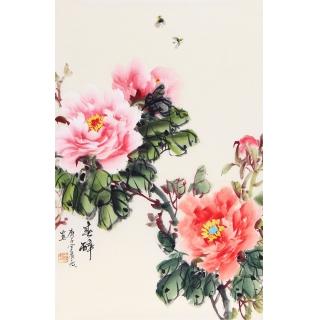国画牡丹图 宣丽敏写意牡丹新作《春醉》