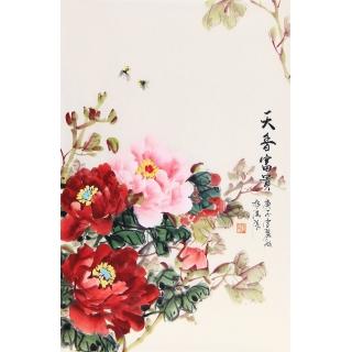 走廊装饰画 宣丽敏小品写意牡丹国画《天香富贵》