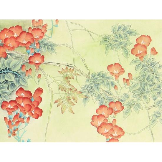 雄鸡图 王淑梅四尺横幅工笔花鸟画《春光明媚》
