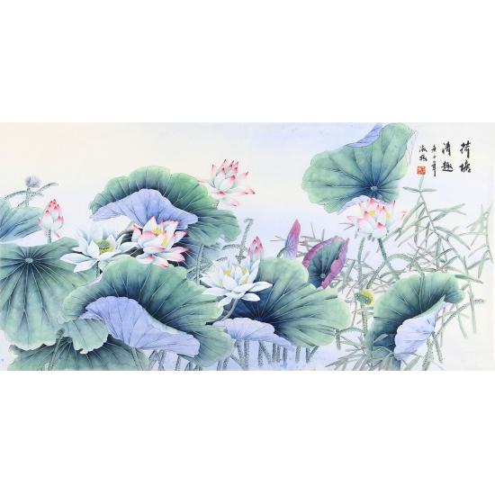 王淑梅四尺横幅国画工笔花鸟画作品荷花《荷塘清趣》