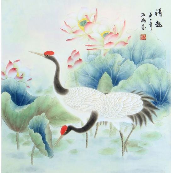王淑梅四尺斗方花鸟画《清趣》