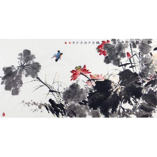 客厅装饰画 王占海新品写意荷花图《和美图》