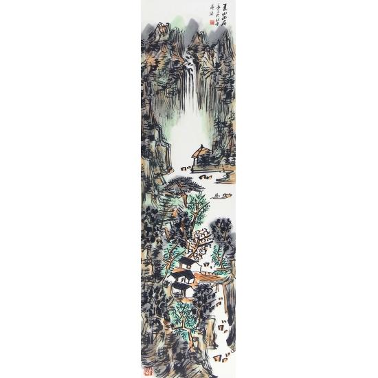 中美协会员晁海山水画新品四条屏《春夏秋冬》