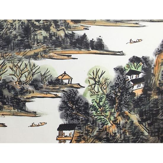 【已售出】中美协会员晁海六尺山水画作品《湖光山色》